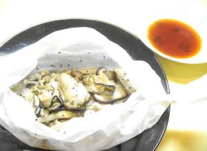 牡蠣とキノコの蒸し焼き